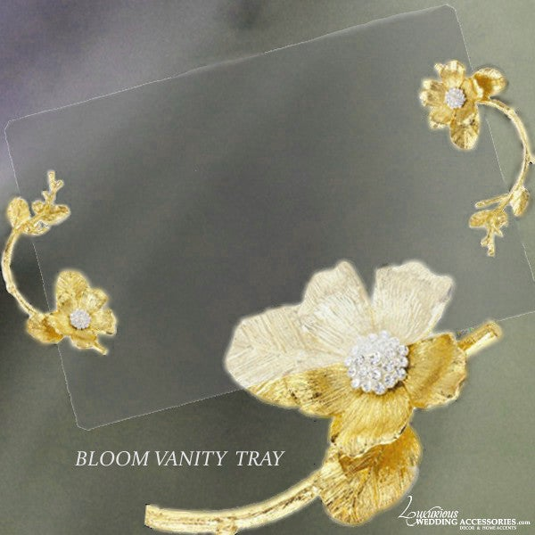 Image of Bloom Glass Vanity Tray Gold