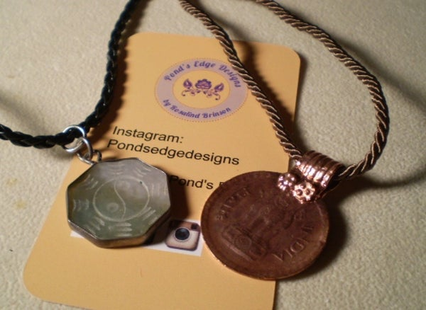 Image of Namaste Pendant Pair - Indian Coin and Yin/Yang