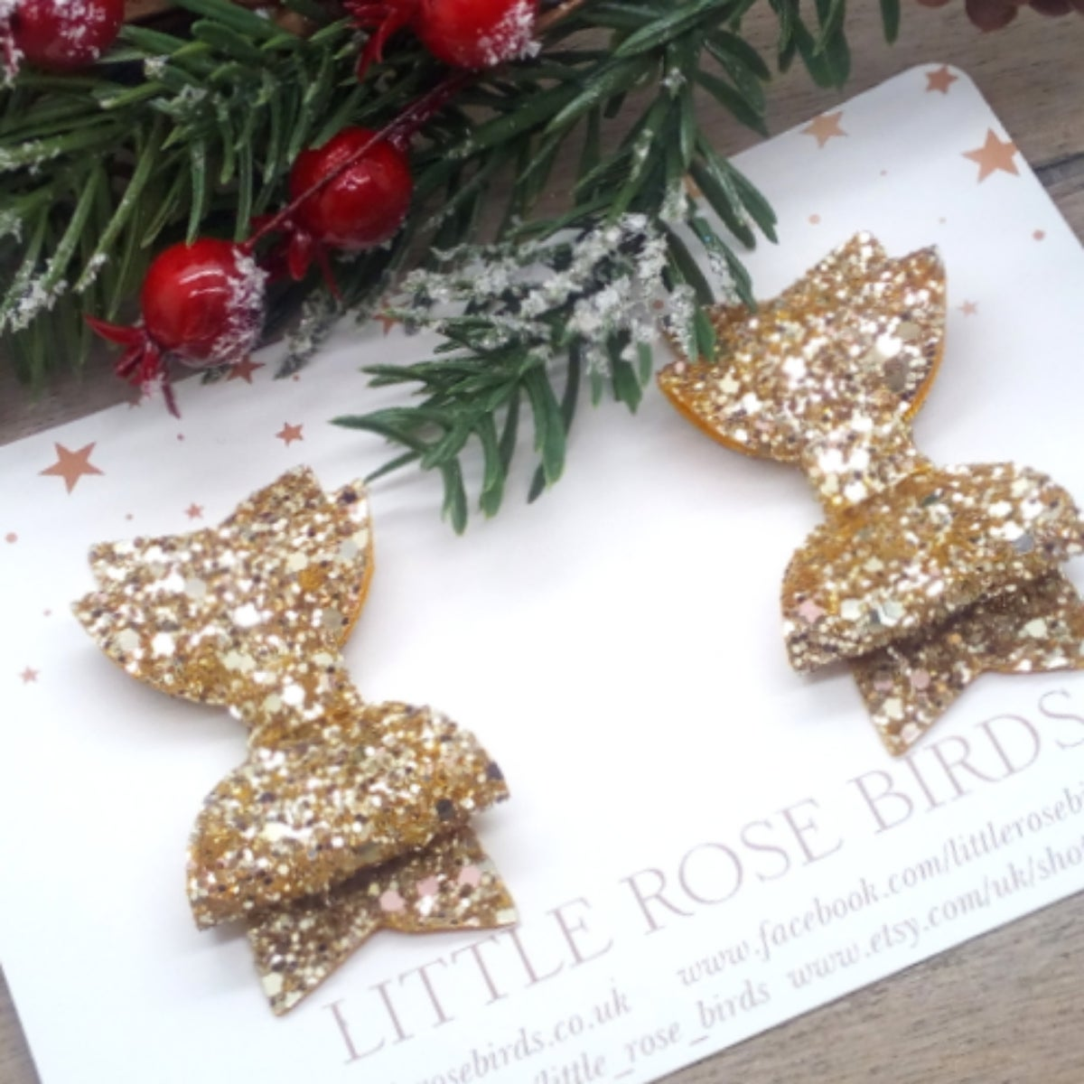 Image of Gold Glitter Pigtail Bows