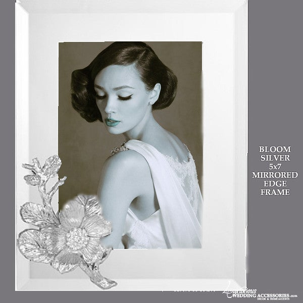 Image of Bloom Silver 5x7 Mirrored Picture Frame