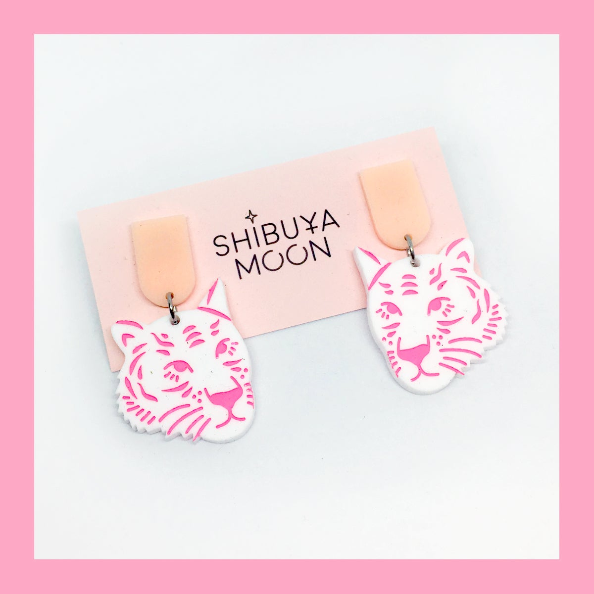 Image of Tiger Face Dangles (White/Peach-Pink)