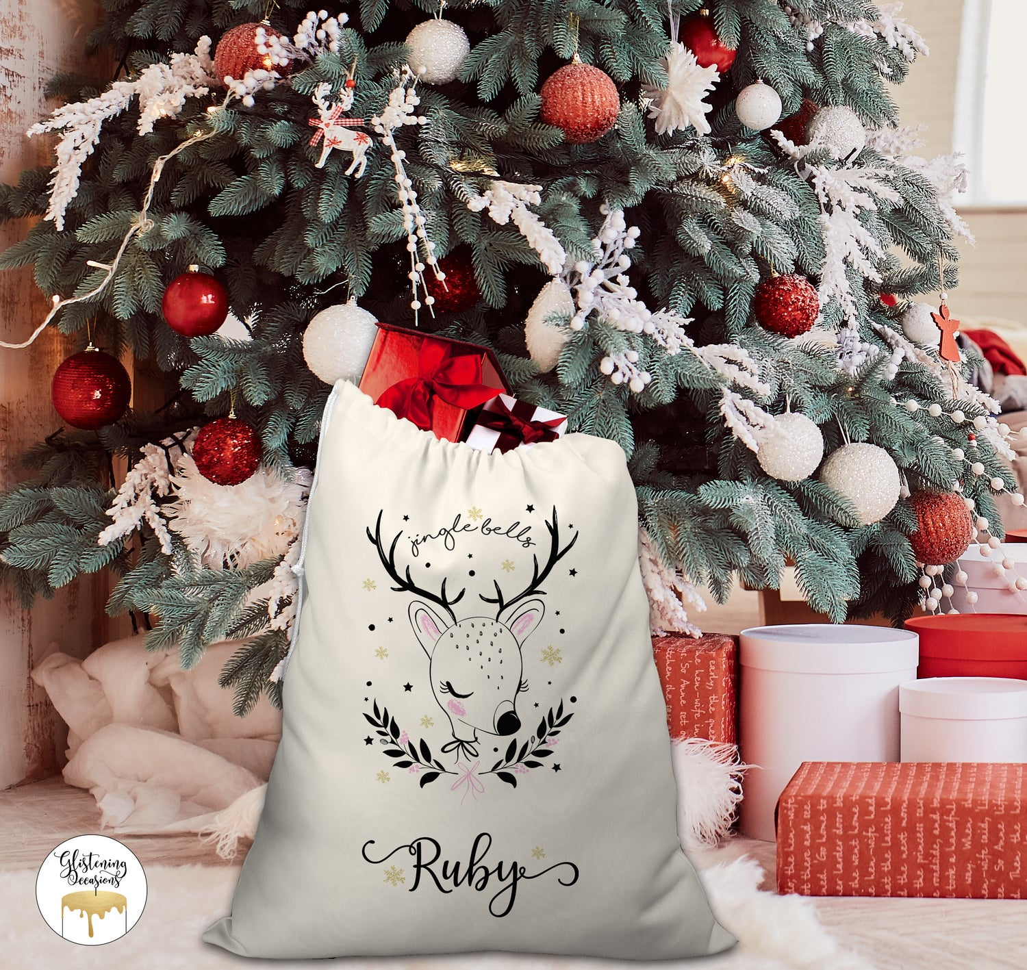 Image of Cute Deer Santa Sack