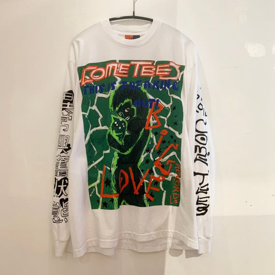 "Image of COME TEES x BIG LOVE RECORDS T-SHIRT ""FREAKING OUT"" -WHITE LONG-"