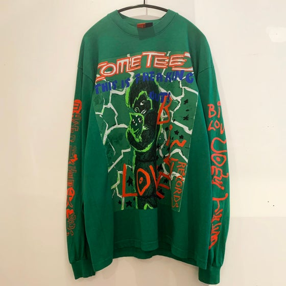 """Image of COME TEES x BIG LOVE RECORDS T-SHIRT """"FREAKING OUT"""" -GREEN LONG-"""