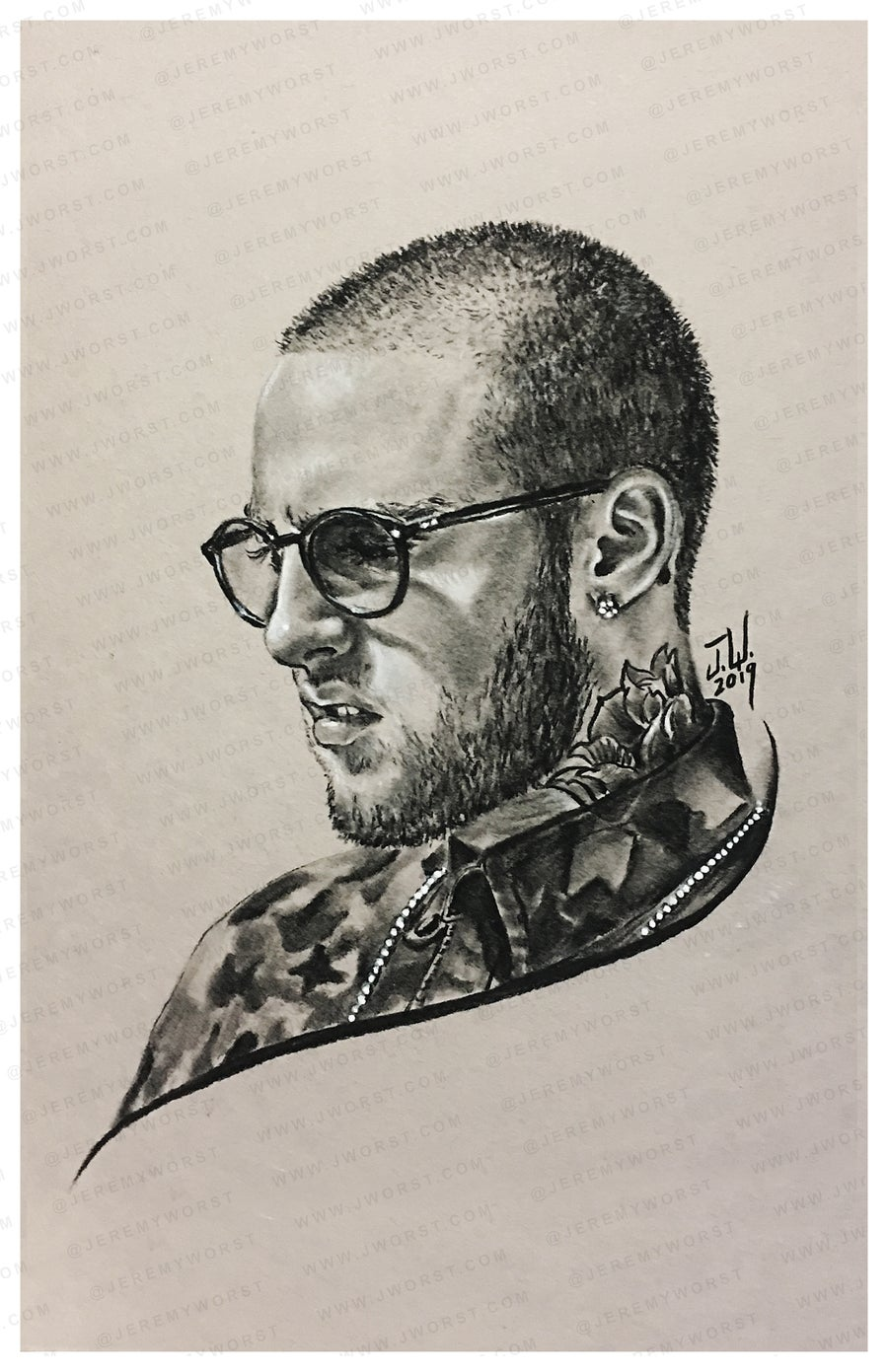 Image of MAC MILLER Sketch by Jeremy Worst Hip hop Rip legend artwork sad macmiller sticker pin design print