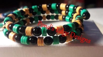 Yellow Black and Green Memory Wire Bracelet