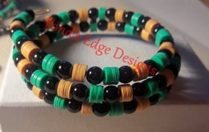 Image of Yellow Black and Green Memory Wire Bracelet