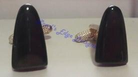 Obsidian Triangle Cuff Links