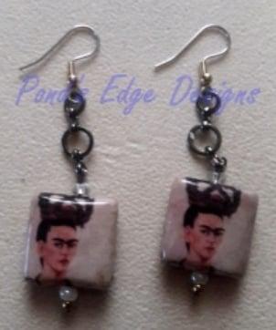 Image of Beaded Earrings - Frida Kahlo Homage
