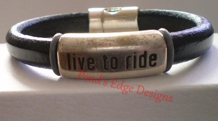 Image of Live to Ride Men's Black Leather Bracelet