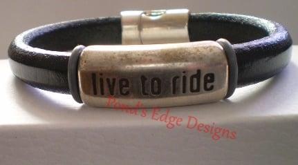 Image of Live to Ride Men's Black Leather Bracelet