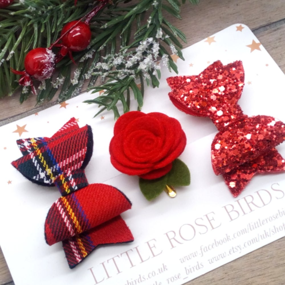 Image of SET OF 3 Red Tartan Bow & Flower Set