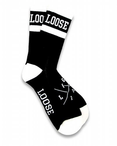 Image of Black Loose Riders banded cotton socks