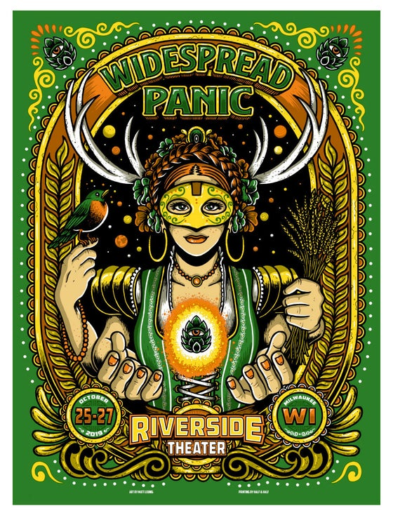 "Image of WIDESPREAD PANIC @ Milwaukee, WI - 2019 & ""Emerald Green"" & ""Foil variants"""
