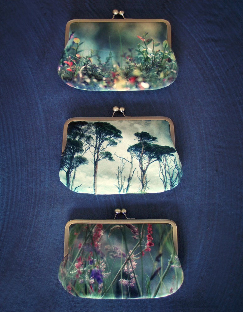 Image of Velvet clutch bag, pines, woodland, grasses