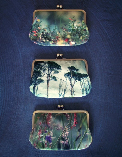 Image of Pre-order, velvet clutch bag, pines, woodland, grasses