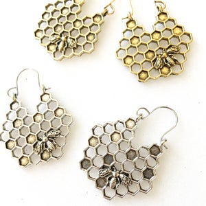 Image of Antique Bumblebee Hive Hoop Earrings