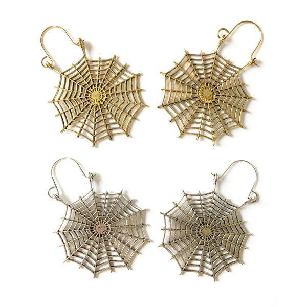 Image of Antique Spiderweb Oversized Hoop Earrings