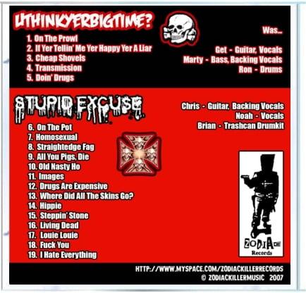 Image of Uthinkyerbigtime?/Stewpid Excuse Split CD