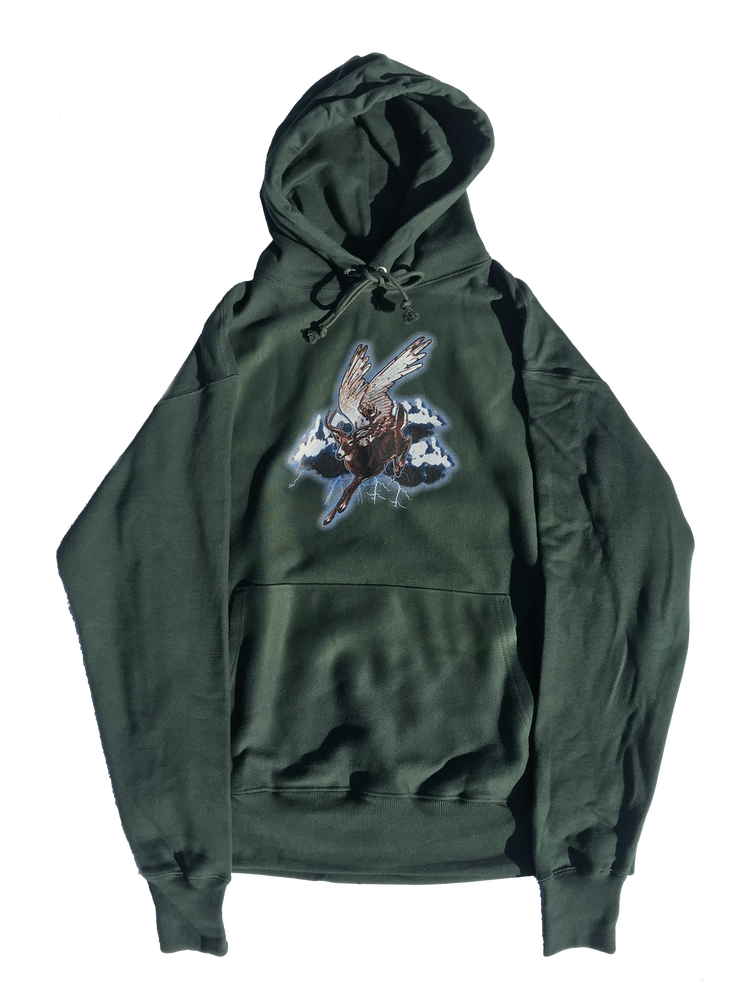 Image of STORM RIDER HOODED SWEATSHIRT (CHAMPION® REVERSE WEAVE) - FOREST GREEN