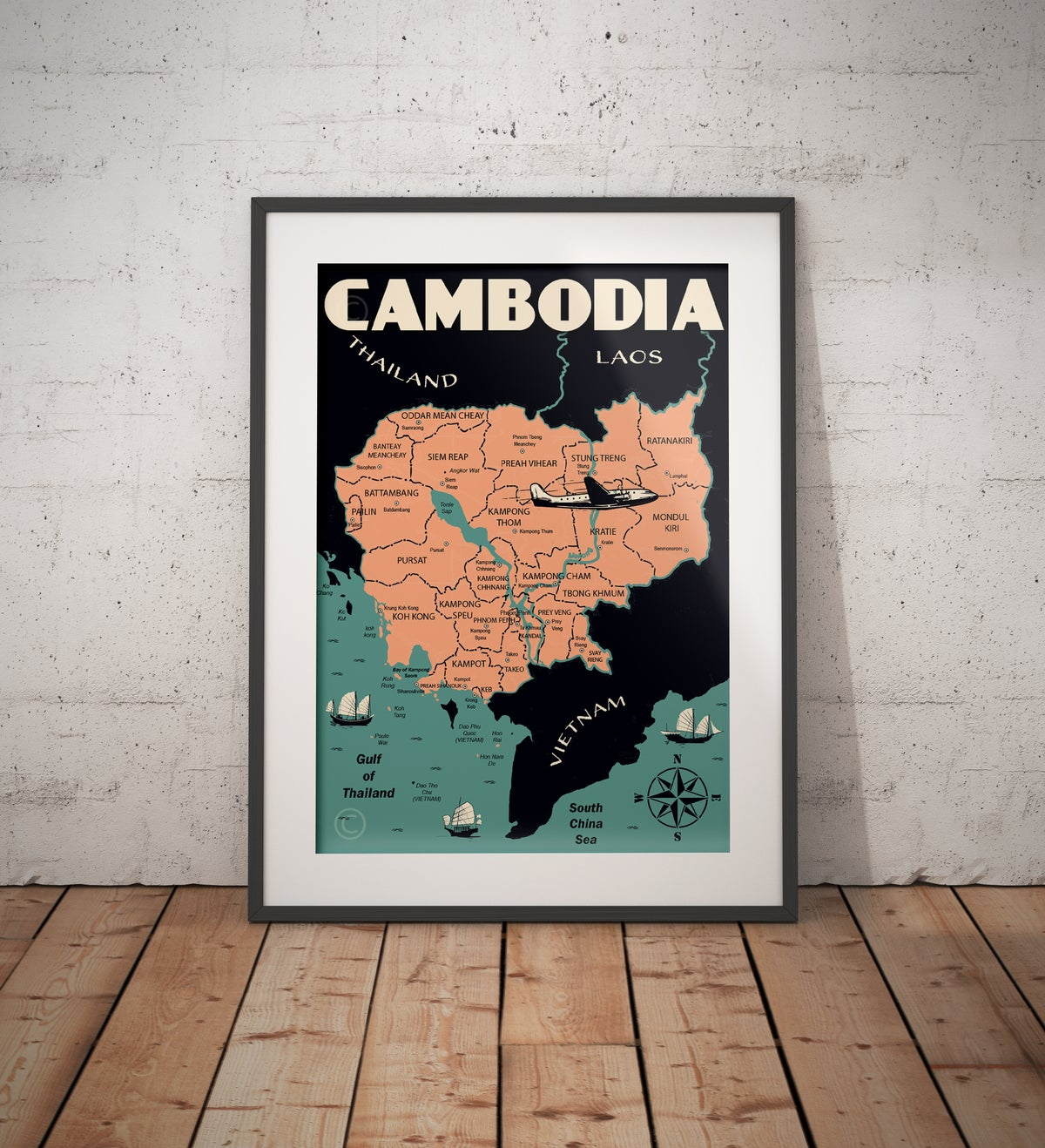 Image of Vintage poster Cambodia #Map
