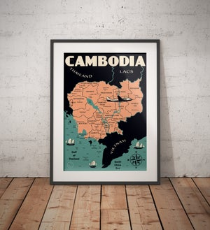Image of Vintage poster Cambodia Map - Fine Art Print