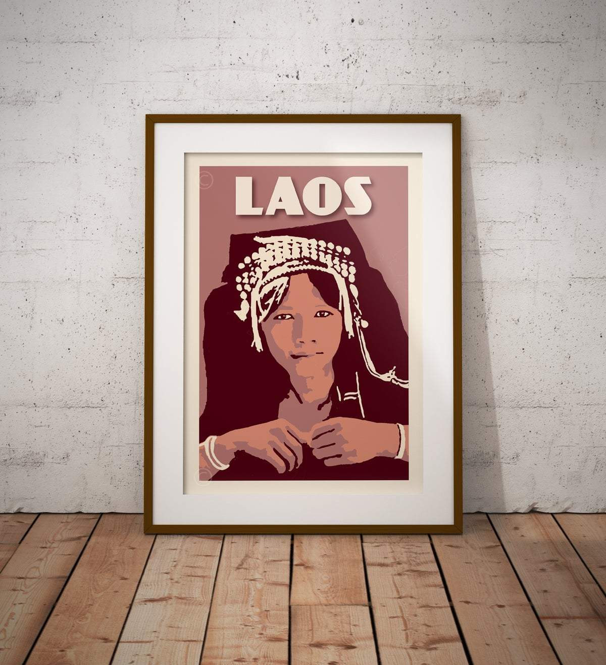 Image of Vintage poster Laos - Akha woman - Fine Art Print
