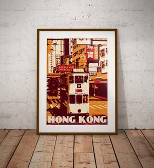 Image of Vintage poster Hong Kong - Tramway - Ding Ding - Orange - Fine Art Print