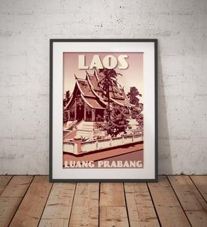Image of Vintage poster Laos - Luang Prabang - Wat Ho Phra Bang - Fine Art Print