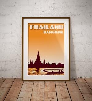 Image of Vintage poster Thailand - Bangkok - Wat Arun - Fine Art Print