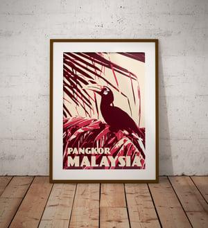 Image of Vintage poster Malaysia - Pangkor - Rhinoceros Hornbill  - Fine Art Print