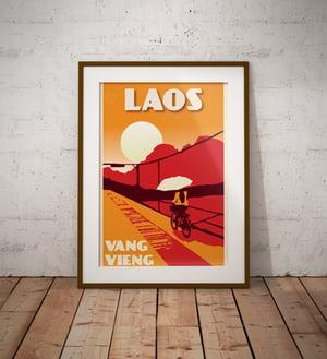 Image of Vintage poster Laos - Vang Vieng - Fine Art Print