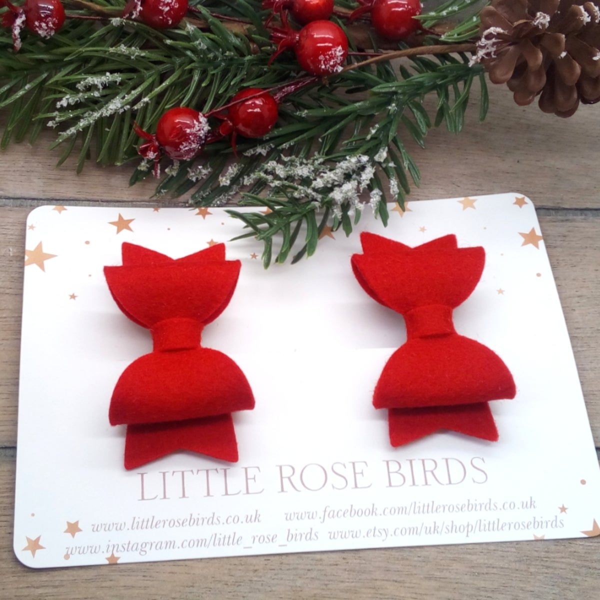 Image of Red Felt Pigtail Bows