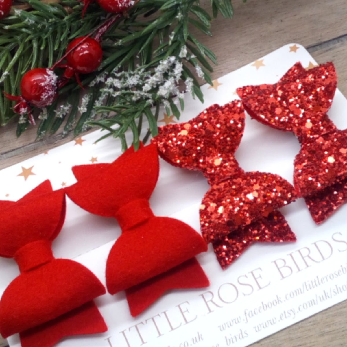 Image of Red Felt & Red Glitter Bow Set