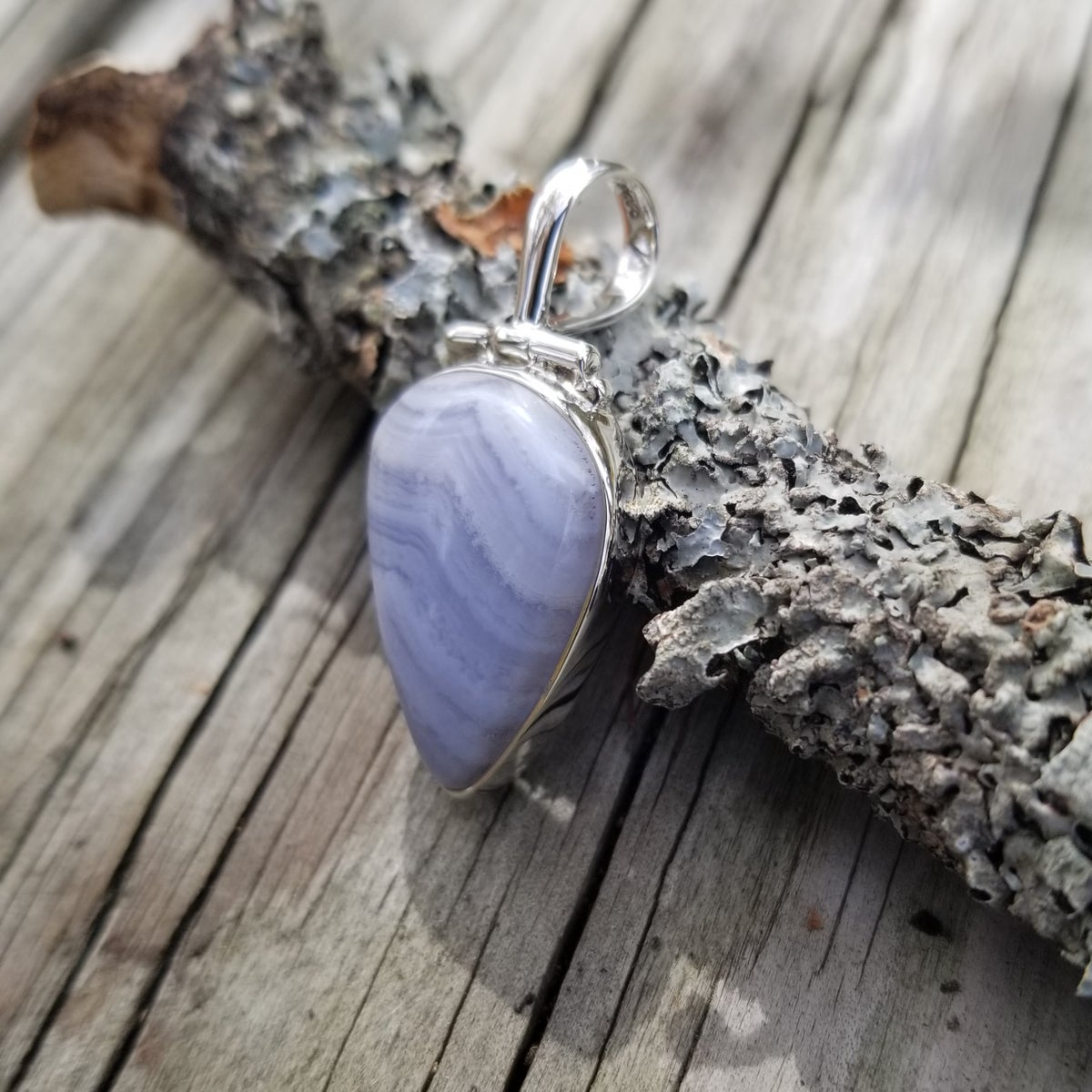 "Image of ""Calm"" - Blue Lace Agate Pendant"