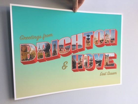 Image of Brighton & Hove Vintage American Inspired Postcard A3 Giclée Print