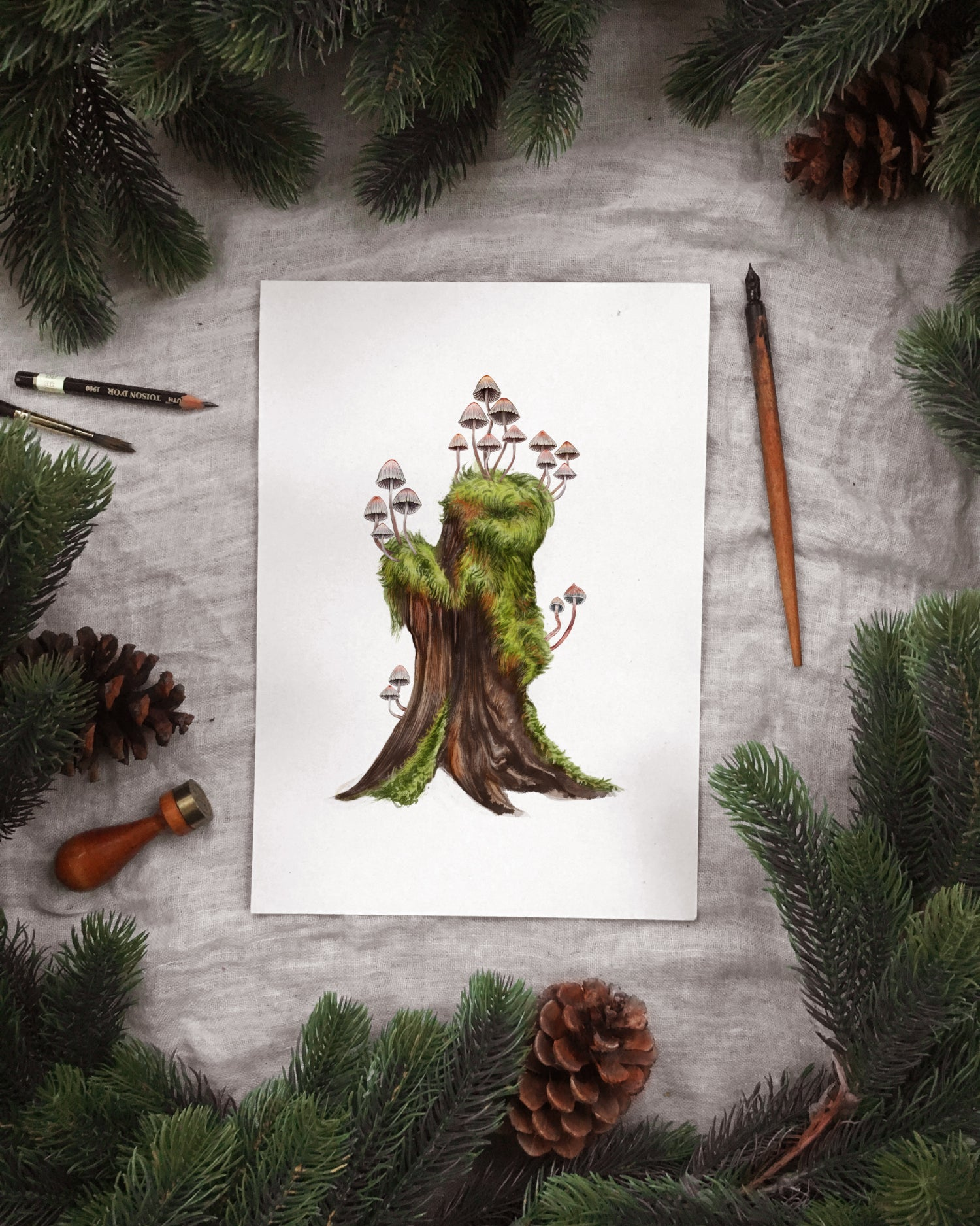 Image of Fairy Cap Tree Stump Print