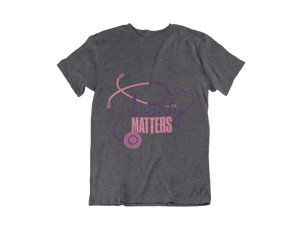 Image of Heather Grey Shirt-Purple/Pink