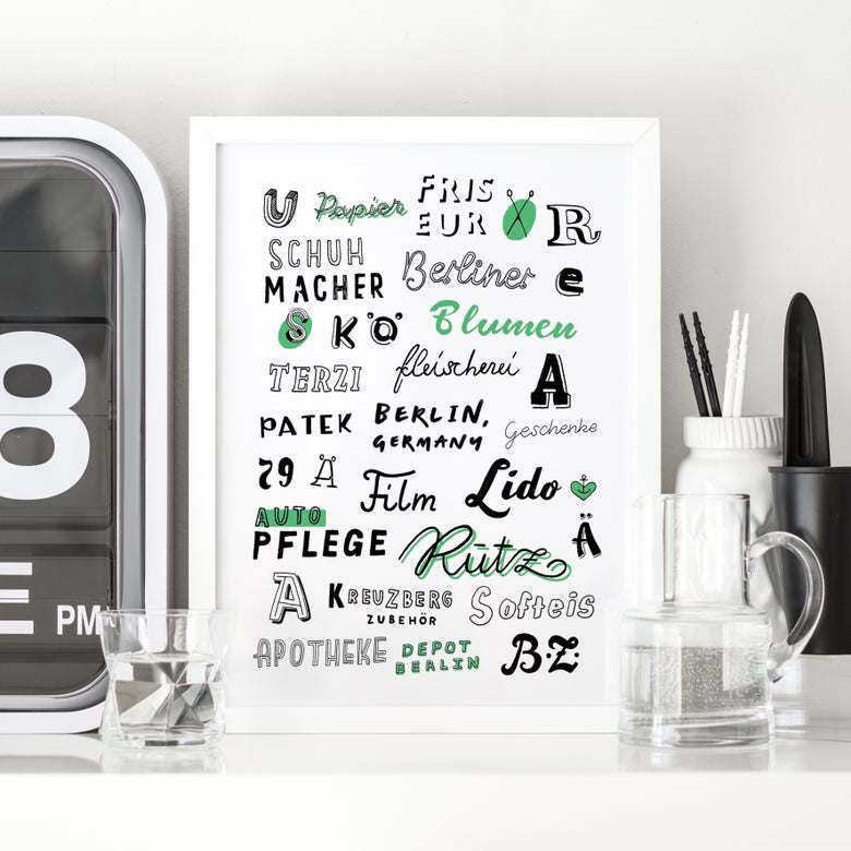 Image of BERLIN A4 typography print