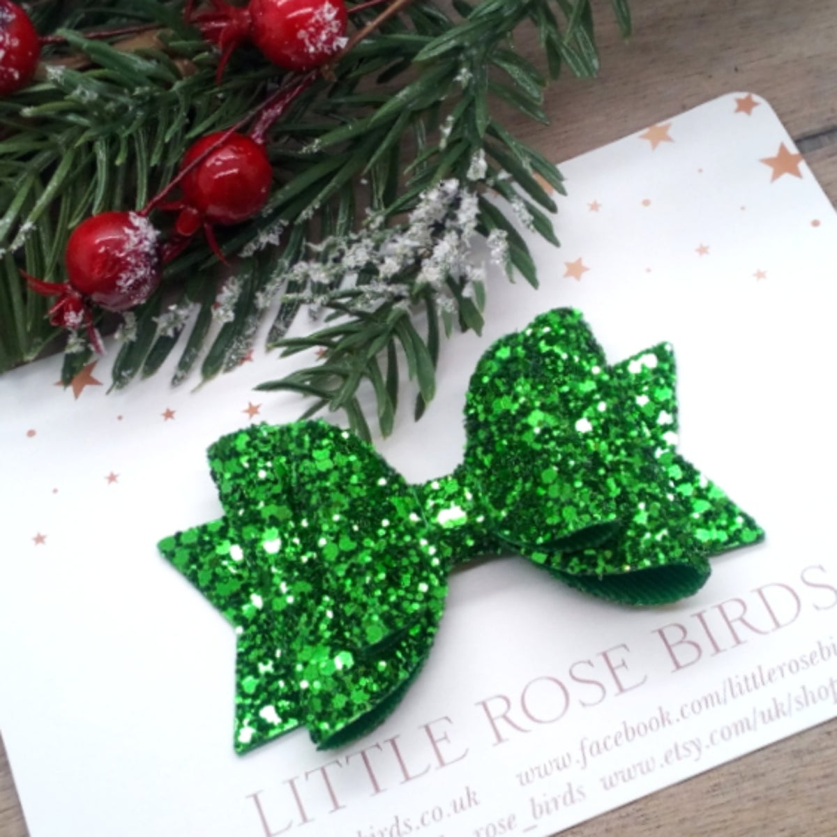 Image of Green Glitter Bow - Choice of Size