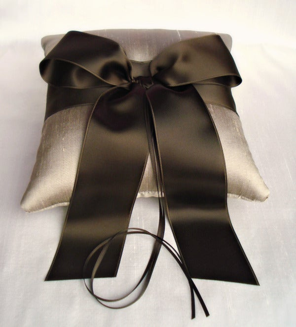 Image of Taupe Silk Dupioni and Brown Bow Ring Bearer Pillow