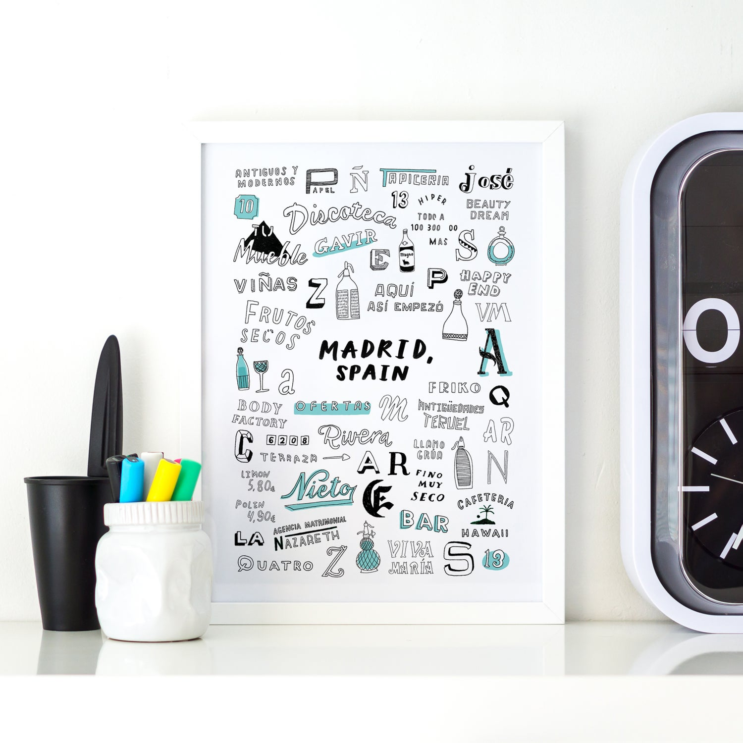 Image of MADRID A4 typography print