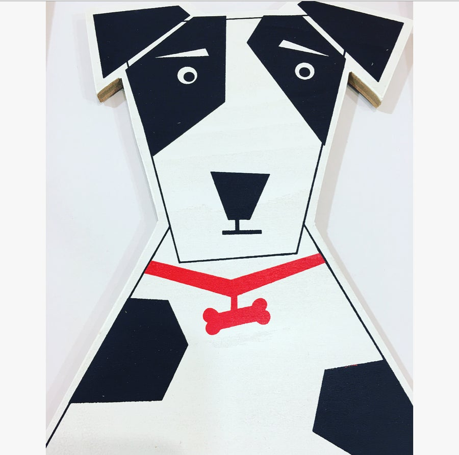 Image of Mr Woofer Dog - Hand Screen Printed Wall Plaque