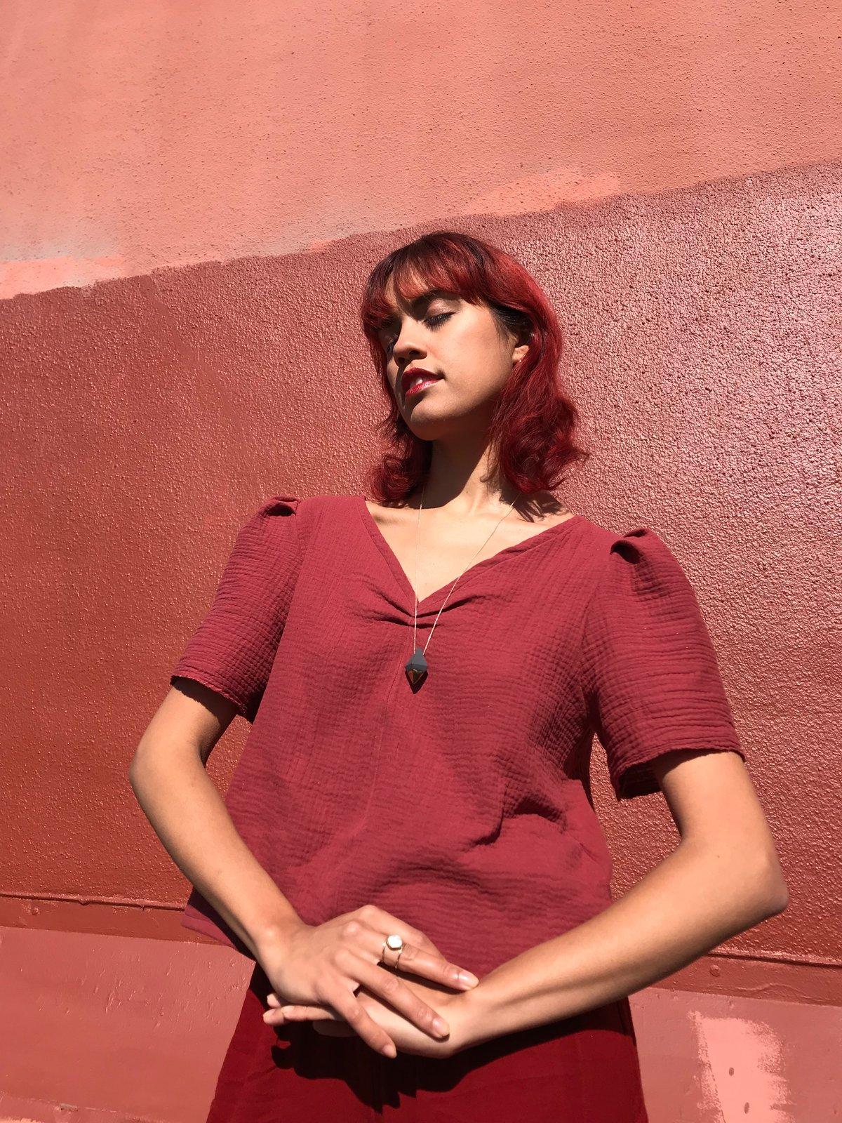 Image of Rosewood Gauze Pouf Sleeve
