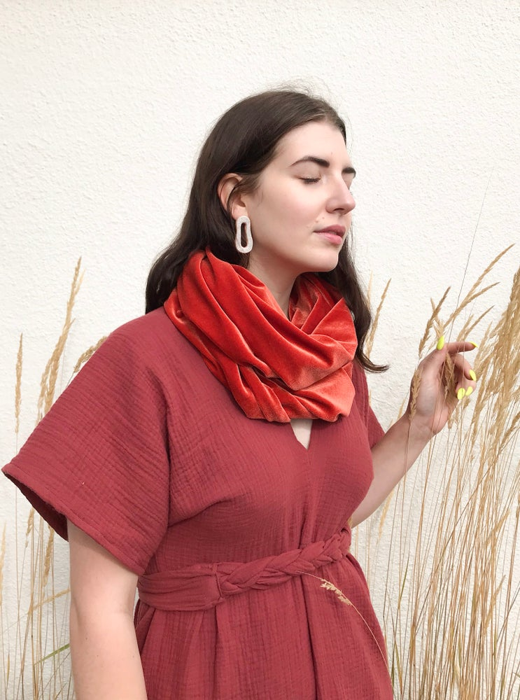 Image of Persimmon Velvet Scarf