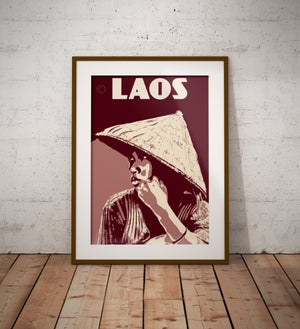 Image of Vintage poster Laos - young woman - Fine Art Print