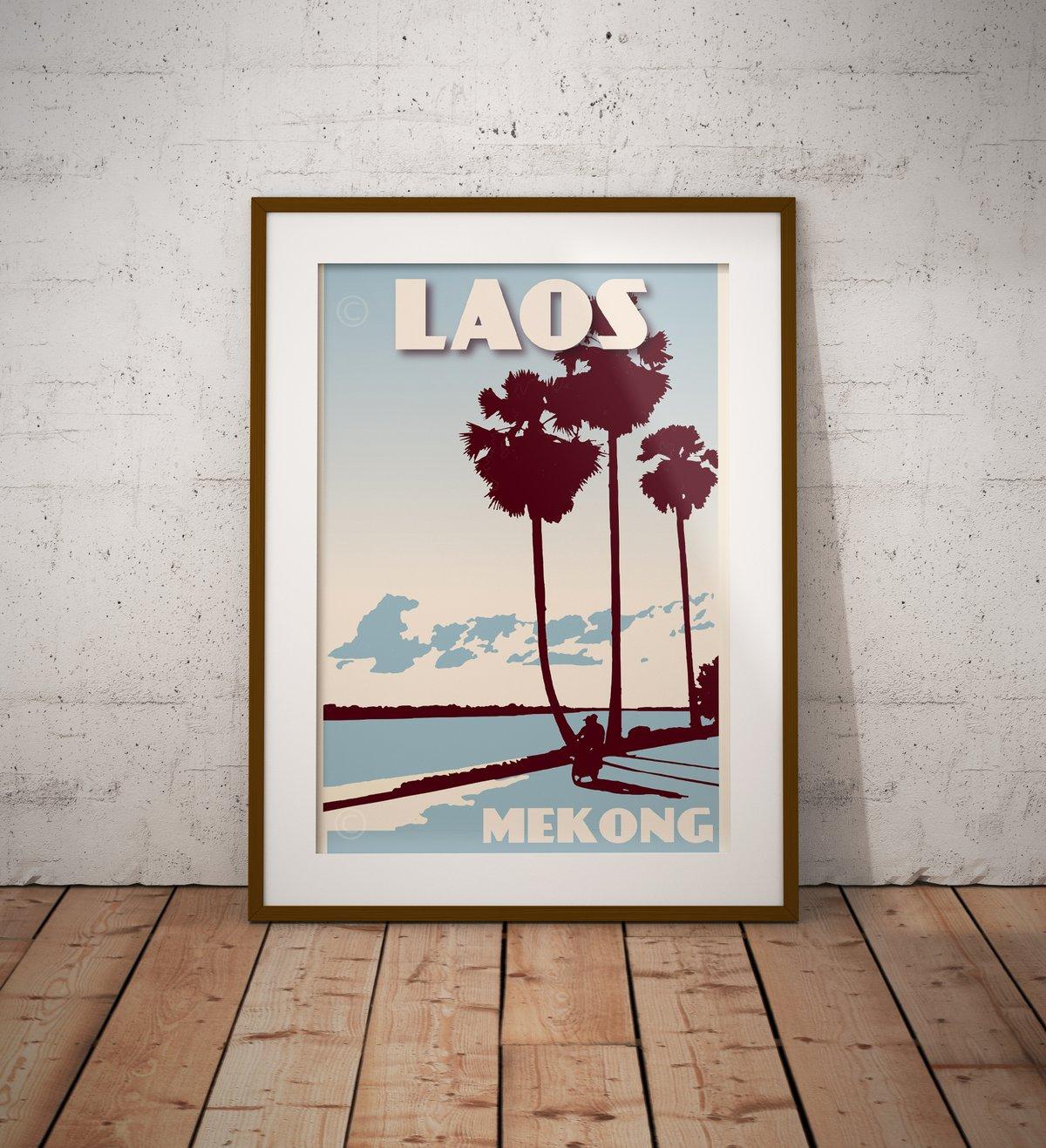 Image of Vintage poster Laos - Mekong - Fine Art Print