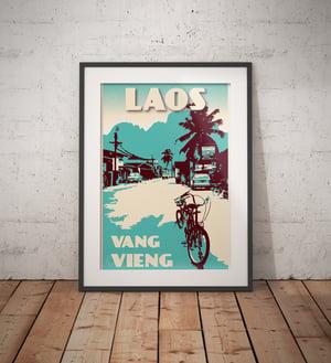 Image of Vintage poster Laos - Vang Vieng - Street - Fine Art Print