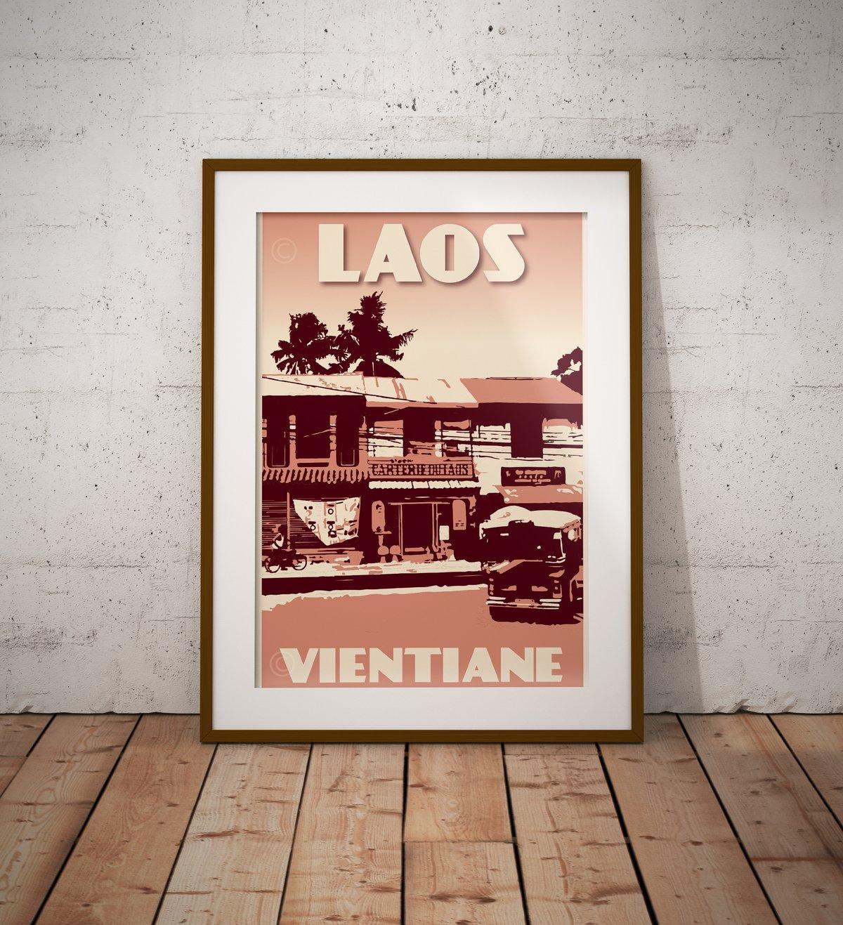Image of Vintage poster Laos - Carterie du Laos - Fine Art Print