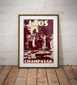 Image of Vintage poster Laos - Champasak - Wat Phu - Green - Fine Art Print